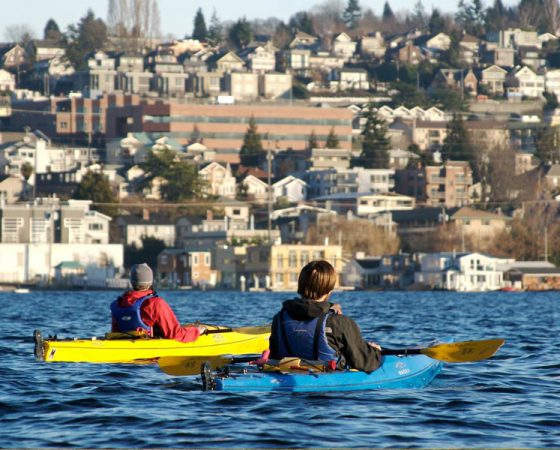 Kayaking on Lake Union in Seattle, Washington